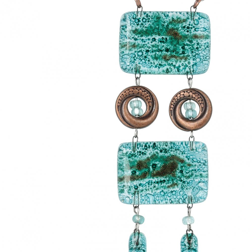 Glass necklace turquoise ladder NH0102