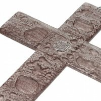Brown glass wall cross – with spiral