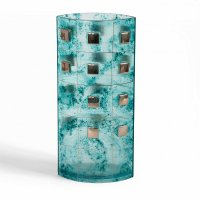 Turquoise glass vase MIRA with platinum