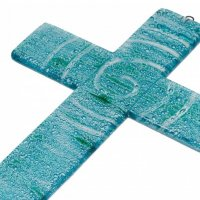 Turquoise glass wall cross - spiral