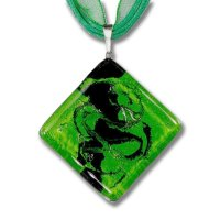 Green square diamond glass pendant DAISY P1406