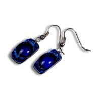 Glass earrings dark blue PARIS N0301