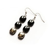 Silver-black glass earrings - three-piece N5105