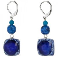 Dark blue glass earrings with beads NK0301