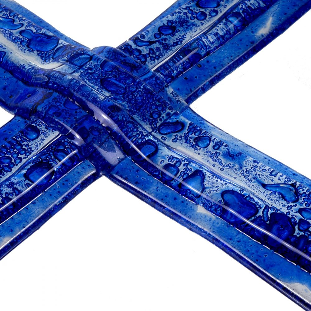 Small dark blue layered glass wall cross