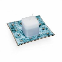Glass turquoise candlestick MIRA with scented candle