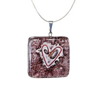 Brown square glass pendant with heart TERRA P0207