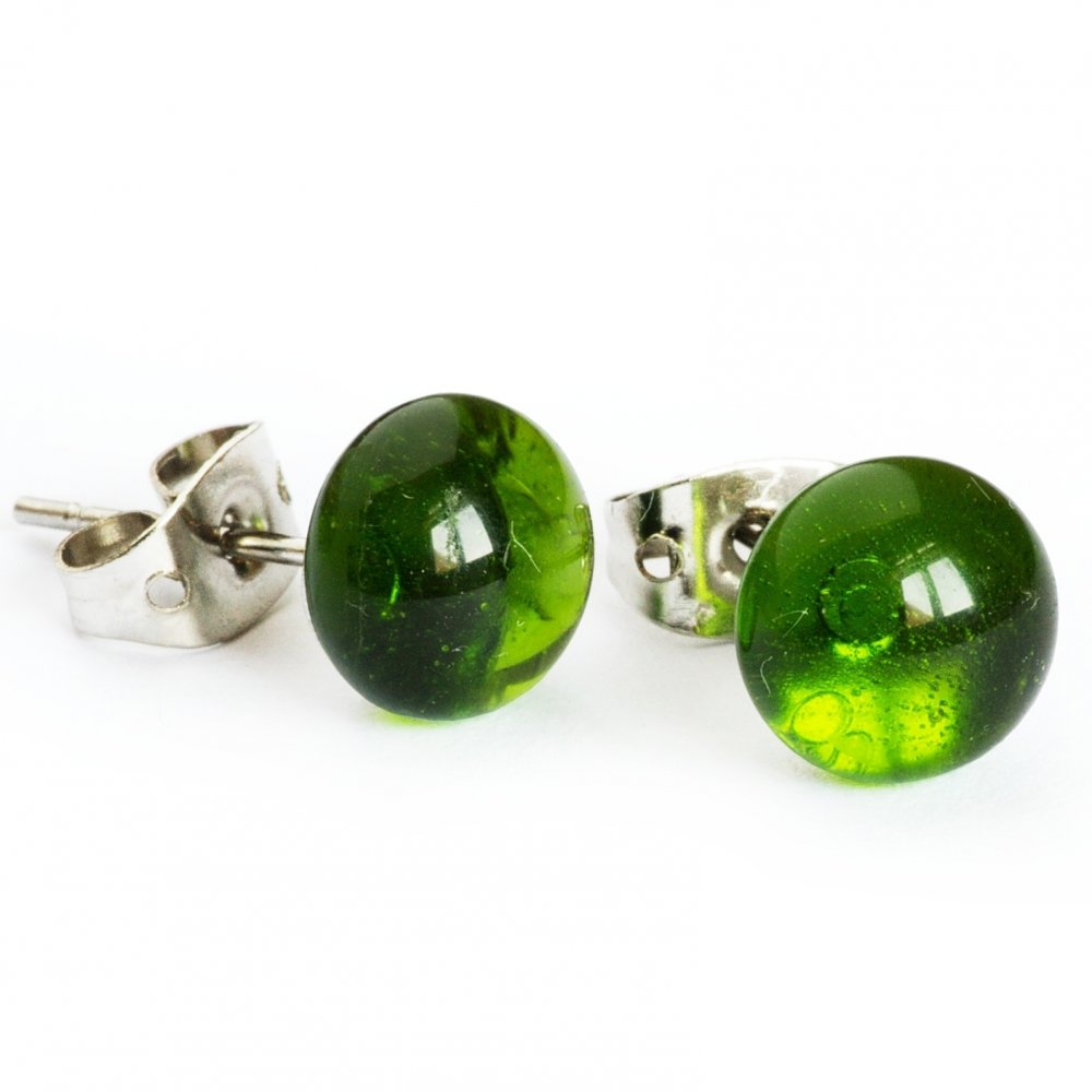 Light green glass earrings PUZETY N1826