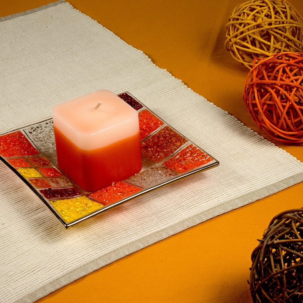 Glass orange candlestick CORAL KARO with scented candle