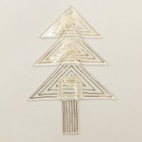 Christmas glass ornament tree transparent - gold triangles