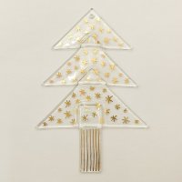 Christmas glass ornament tree transparent - golden stars