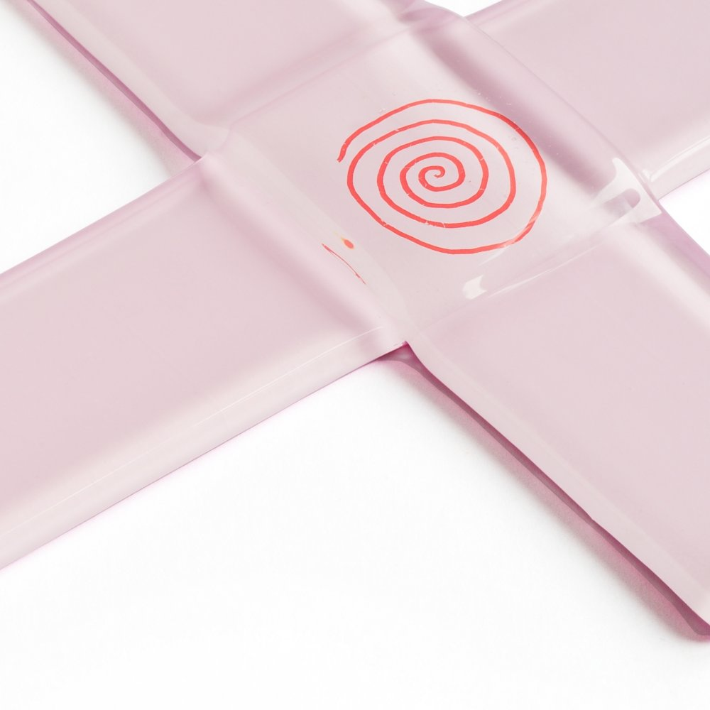 Glass christening cross pale pink - with spiral
