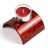 Glass red candlestick for tea candles