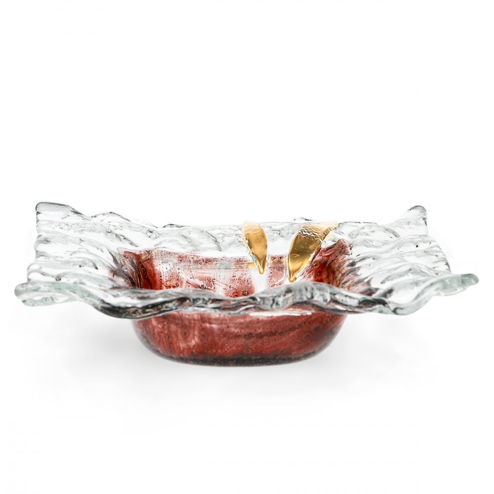 Glass bowl TERRA brown with lace – square