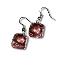 Glass earrings brown TERRA N0205