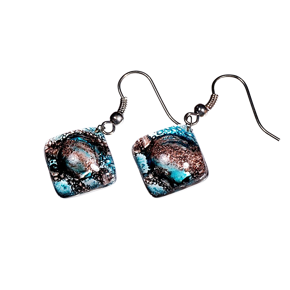 Glass earrings turquoise and brown MEMPHIS N0404