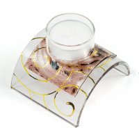 Glass candleholder for tea candles brown 02