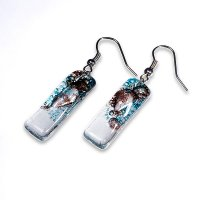 Glass earrings turquoise and brown MEMPHIS N0403