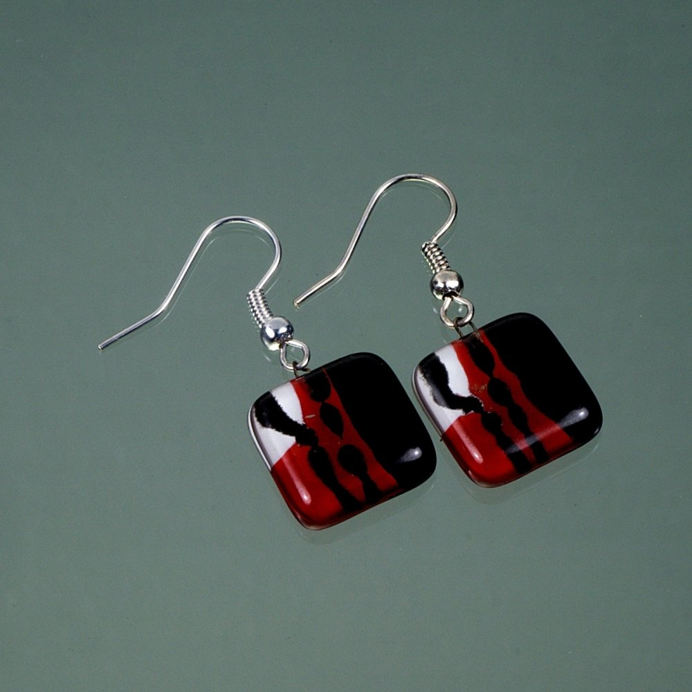 Red glass earrings SARAH N0909