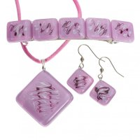 Set of pink glass jewelry HELENE - 1104