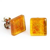 Glass earrings amber PUZETY N1823
