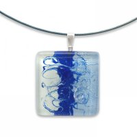 Blue square glass pendant ANNA P1004