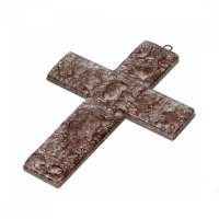 Small brown glass wall cross