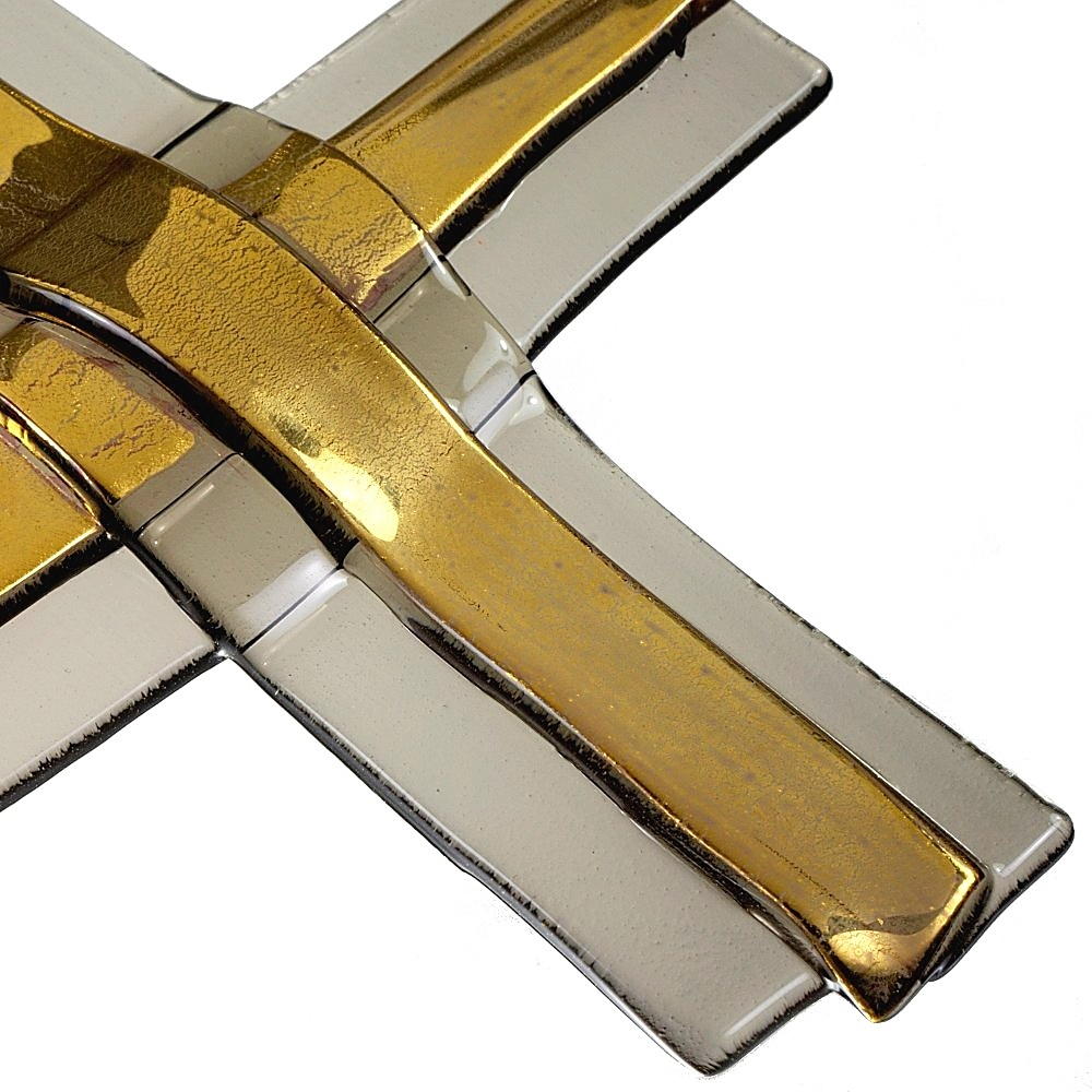 Gold layered glass wall cross