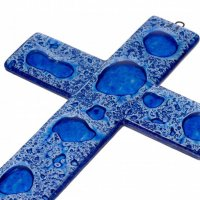 Dark blue glass wall cross