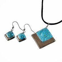 Set of glass jewelery PLATINUM - BLANKYT turquoise - 0102