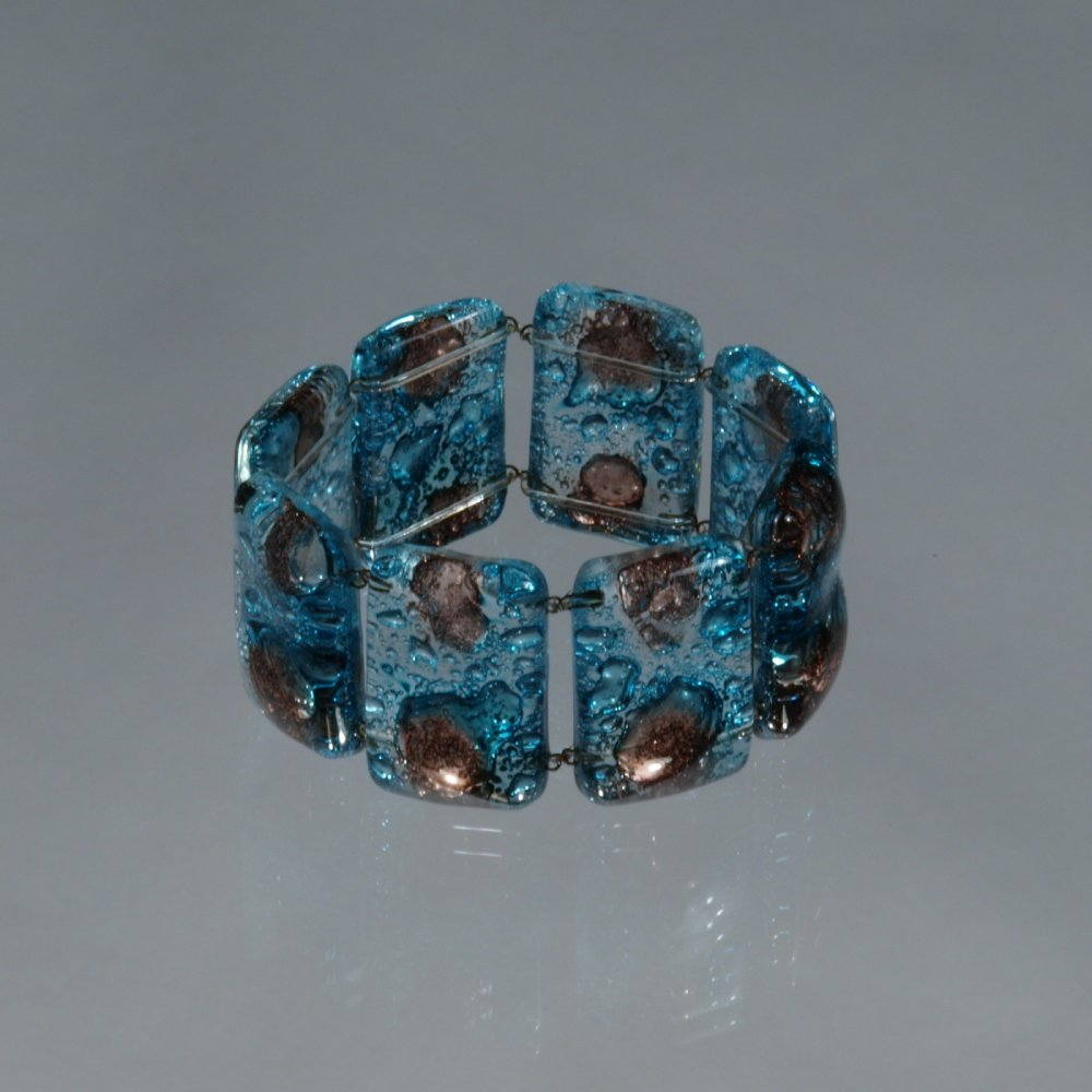 Glass turquoise brown bracelet 0403