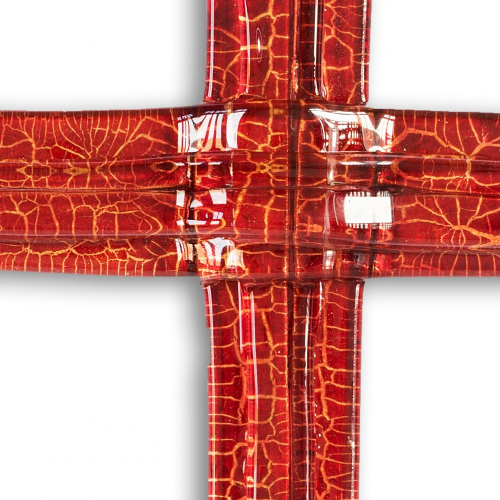 Small ruby layered glass wall cross