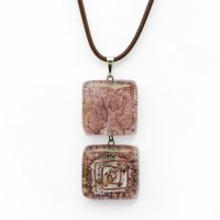 Glass double pendant brown TERRA PD0204