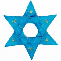 Christmas glass star in transparent blue