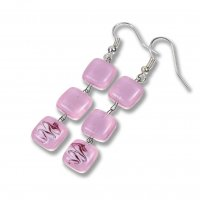 Glass earrings rose HELENE N1104