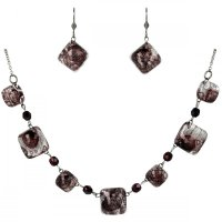 Set of glass jewelry brown SOU0202