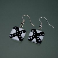 Glass earrings black and white LENORE N1703