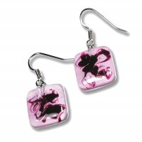 Pink glass earrings HELENE N1110