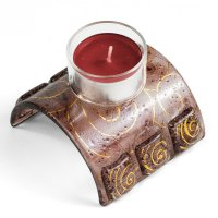 Glass candleholder for tea candles brown 01