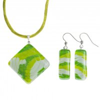 Set glass jewelry green - 1402