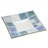 Blue glass plate CORAL square