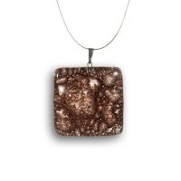 Brown square glass pendant TERRA P0202