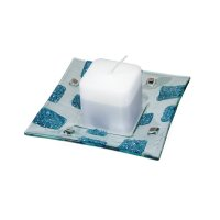 Glass blue-green candlestick EVE CITY with scented candle