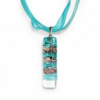 Glass pendant turquoise-brown rectangle MEMPHIS P0402