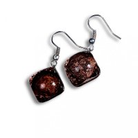 Glass earrings brown TERRA SLEV_N_011