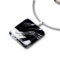 Black square glass pendant KIM P0802