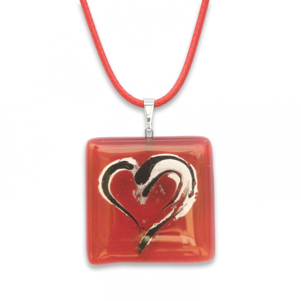 Red square glass pendant SARAH P0902