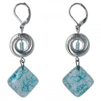 Turquoise glass earrings with beads NK0102