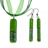 Set glass jewelry green DAISY - 1401