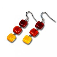 Glass earrings yellow JULIET N1304